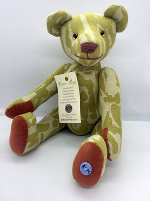 Lime patterned fabric teddy bear