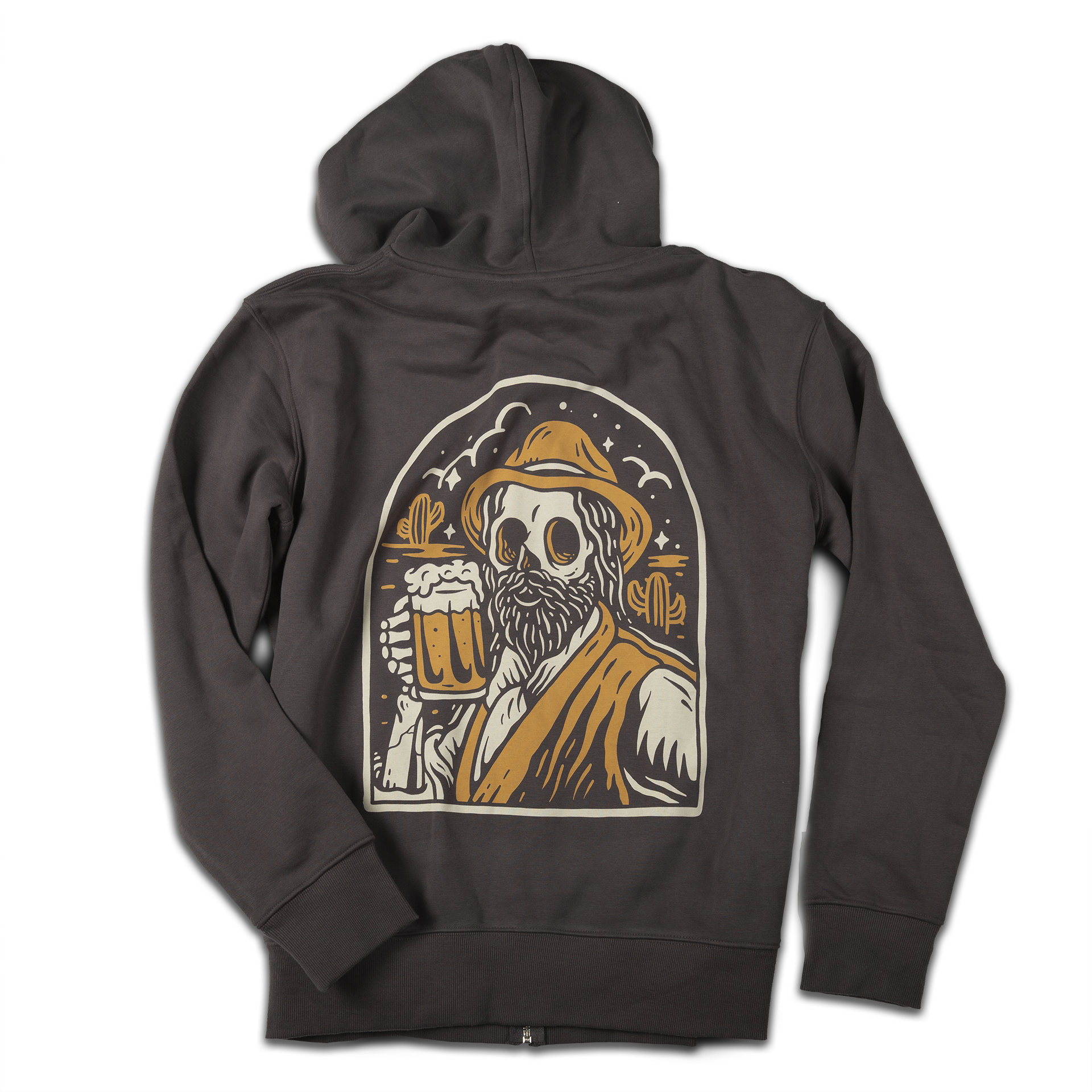 """Beer"" zip hoodie (charcoal grey) - Out of Medium"