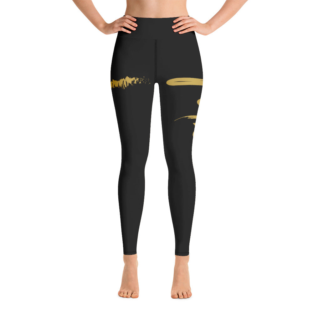 Faith Christian Cross Yoga Leggings in Black w/ Gold Lettering, Black Stitching, Yoga Pants for Women, Christian Gift