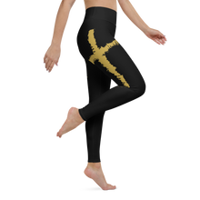 Load image into Gallery viewer, Faith Christian Cross Yoga Leggings in Black w/ Gold Lettering, Black Stitching, Yoga Pants for Women, Christian Gift