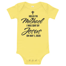 Load image into Gallery viewer, Jesus Sent Me Personalized Christian Bodysuit for Babies, Perfect for Baby Showers, New Moms, Birthdays, Christian Gifts