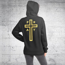 Load image into Gallery viewer, He Is The Way Christian Hoodie for Women & Men + Christian Cross on Back w/ PRAY Surrounding It, Christian Sweatshirts, Jesus Hoody for Woman or Man, Christian Clothing