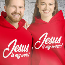 Load image into Gallery viewer, Jesus Is My World Christian Hoodie for Women & Men, Jesus Hoody, Christian Sweatshirts for Women in Red, Light Pink or Sport Gray