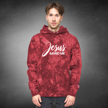 Load image into Gallery viewer, Jesus Saved Me Christian Hoodie with Tie-Dye in Red w/ White Lettering, Front and Back Hoody for Men & Women, Christian Clothing