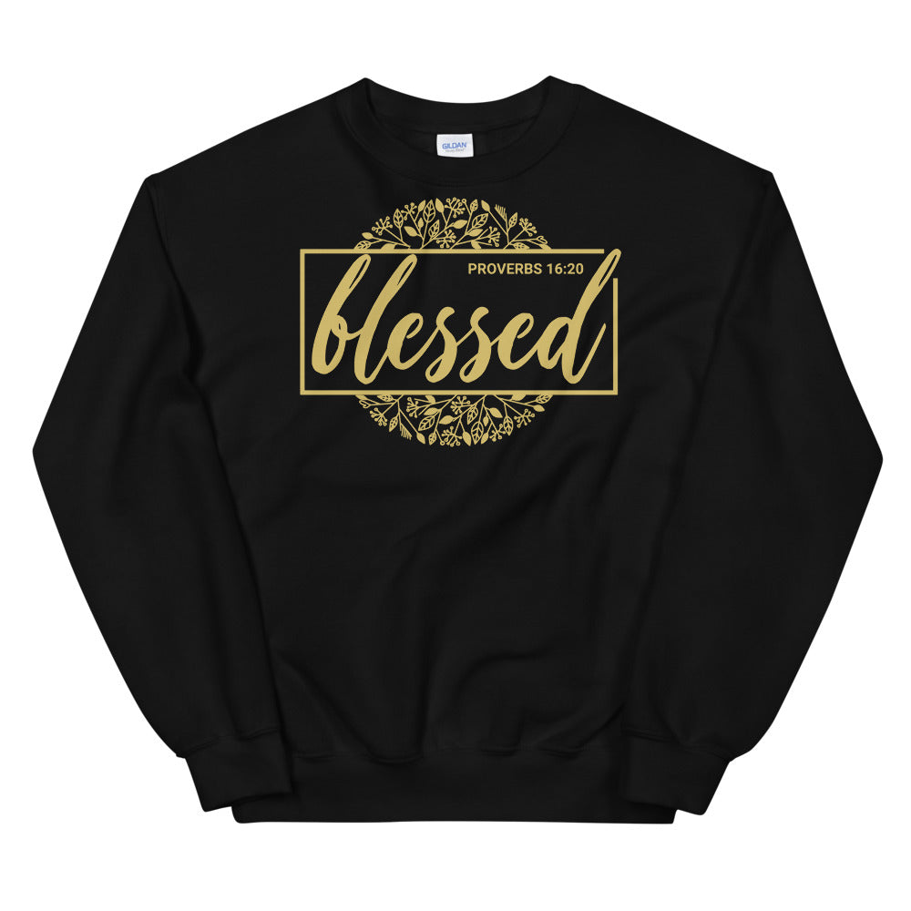Blessed Black Christian Sweatshirt for Men & Women, Proverbs 16:20, Christian Clothing, Religious Gifts, Faith Apparel