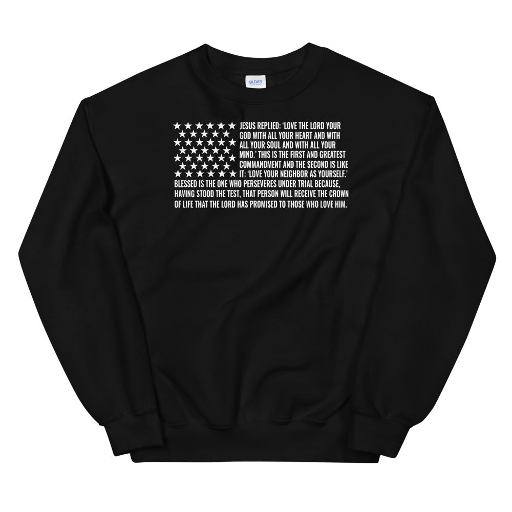 Commandments Christian Sweatshirt in Black w/ White Lettering for Men & Women, Religious Clothing, Christian Gifts