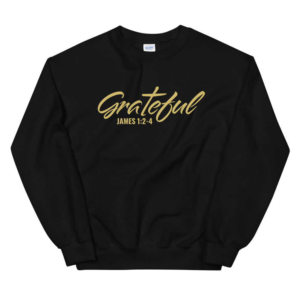 Grateful James 1:2-4 Christian Sweatshirt in Black w/ Gold Lettering for Men & Women, Religious Apparel, Christian Gifts