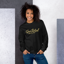 Load image into Gallery viewer, Grateful James 1:2-4 Christian Sweatshirt in Black w/ Gold Lettering for Men & Women, Religious Apparel, Christian Gifts