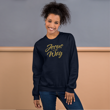 Load image into Gallery viewer, Jesus Is The Way Navy Blue or Black Christian Clothing Sweatshirt w/ Gold Lettering, Sweater for Man or Woman, Catholic Gifts