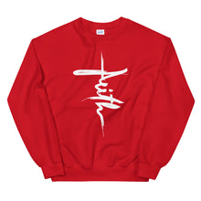 Load image into Gallery viewer, Faith Sweatshirt in Shape of Christian Cross in Red w/White for Men & Women, Catholic Sweatshirts, Christian Gifts, Religious Apparel