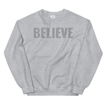 Load image into Gallery viewer, Believe Christian Sweatshirt in Assorted Colors w/ Black Tiny Crosses for Men & Women, Religious Apparel, Christian Gifts, Catholic Clothing