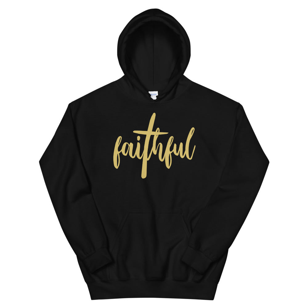 Faithful Christian Hoodie in Black w/ Gold Lettering for Men & Women, Religious Apparel, Christian Gifts, Christianity