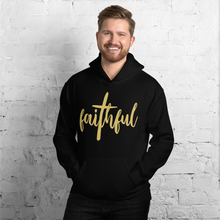 Load image into Gallery viewer, Faithful Christian Hoodie in Black w/ Gold Lettering for Men & Women, Religious Apparel, Christian Gifts, Christianity