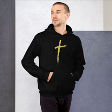 Load image into Gallery viewer, Christian Cross Hoodie in Black w/ Gold Colored Cross for Men & Women, Religious Clothing, Christian Gifts