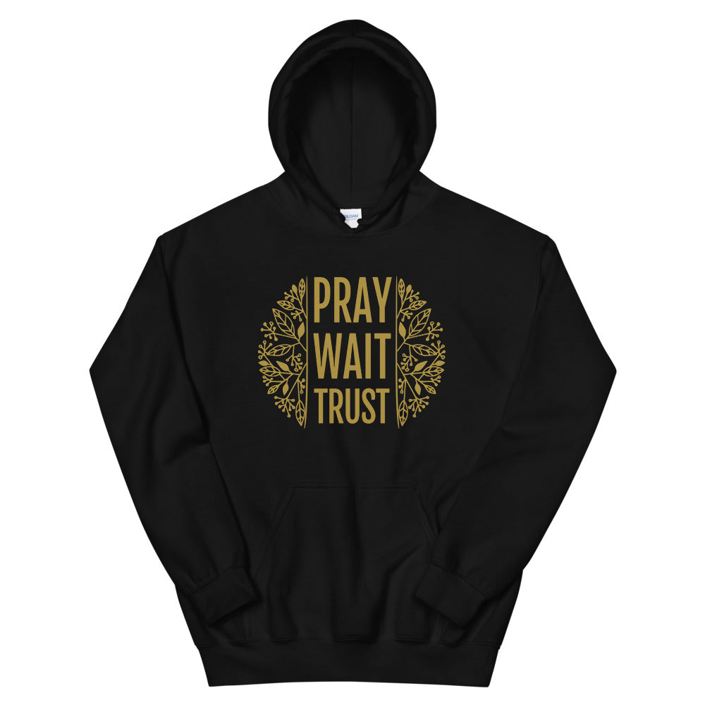 Pray. Wait. Trust. Christian Hoodie in Black w/ Gold Lettering, Religious Apparel for Men & Women, Christian Gifts