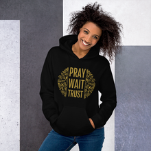 Load image into Gallery viewer, Pray. Wait. Trust. Christian Hoodie in Black w/ Gold Lettering, Religious Apparel for Men & Women, Christian Gifts
