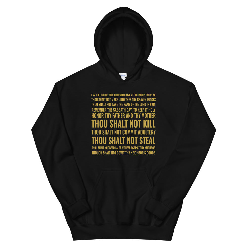10 Commandments Christian Hoodie, Navy Blue or Black w/ Gold Letters, Christian Clothing for Men & Women, Bible Verse Faith Hoody, Christian Gift