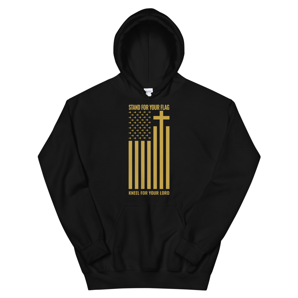 Stand For Your Flag Kneel For Your Lord, Christian Hoodie in Black w/ Gold Lettering, Religious Apparel, Christian Gifts, Catholic Clothing