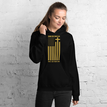 Load image into Gallery viewer, Stand For Your Flag Kneel For Your Lord, Christian Hoodie in Black w/ Gold Lettering, Religious Apparel, Christian Gifts, Catholic Clothing