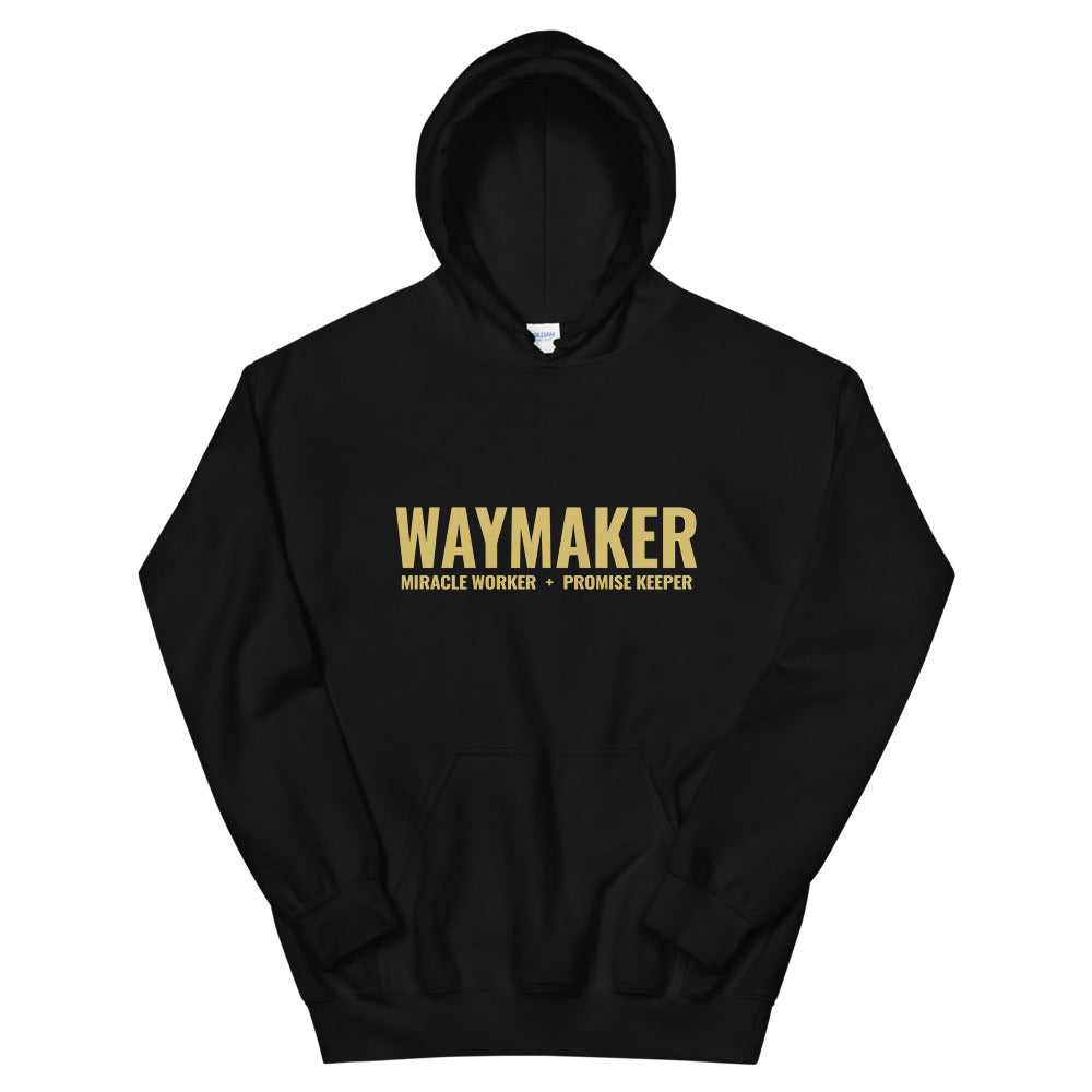 Waymaker Christian Hoodie in Black w/ Gold Lettering, Hoody for Men & Women, Christian Gifts, Religious Apparel, Clothing
