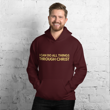 Load image into Gallery viewer, I Can Do All Things Through Christ Christian Hoodie for Women & Men, Jesus Hoody in Assorted Colors w/ Gold Lettering, Christian Clothing for Woman or Man