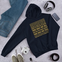 Load image into Gallery viewer, 10 Commandments Christian Hoodie, Navy Blue or Black w/ Gold Letters, Christian Clothing for Men & Women, Bible Verse Faith Hoody, Christian Gift
