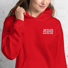 Load image into Gallery viewer, Jesus Saved Me Embroidered Hoodie in Assorted Colors w/ White Embroidery, Hoody Clothing for Men & Women, Religious Apparel, Christian Gifts