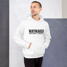 Load image into Gallery viewer, Waymaker Christian Hoodie in White w/ Black Lettering, Hoody for Men & Women, Christian Gifts, Religious Apparel, Clothing