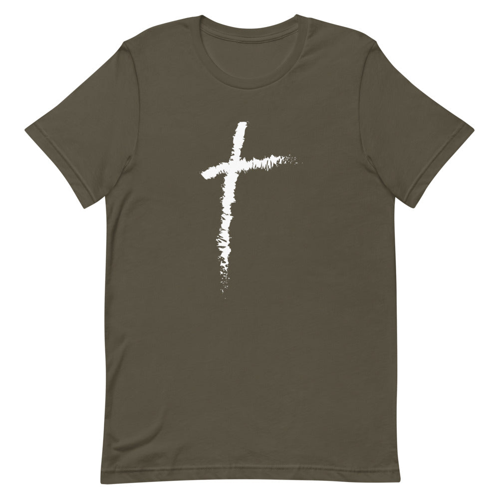 Christian Cross Shirts for Men & Women, Clothing in Assorted Colors w/ White Christianity Cross, Catholic T-Shirts, Religious Apparel, Christian Gifts
