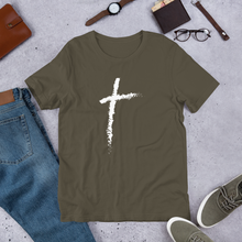 Load image into Gallery viewer, Christian Cross Shirts for Men & Women, Clothing in Assorted Colors w/ White Christianity Cross, Catholic T-Shirts, Religious Apparel, Christian Gifts