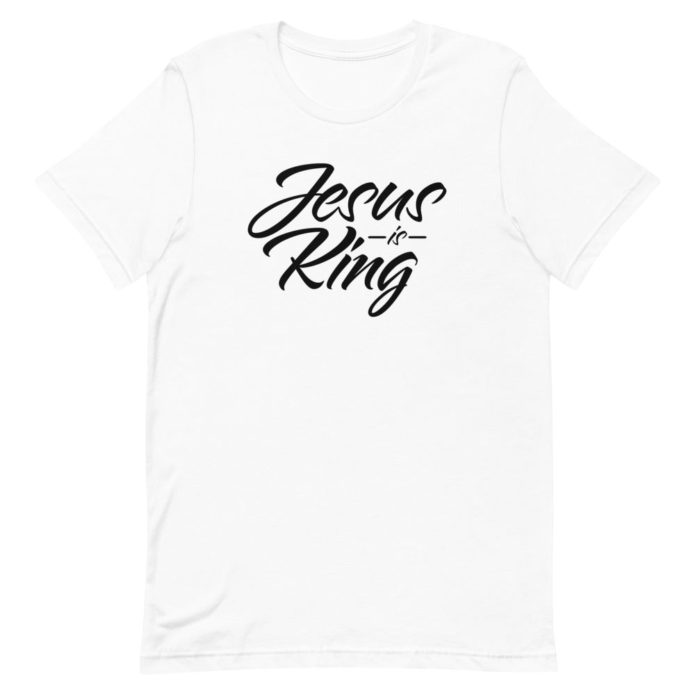 Jesus Is King Christian Short-Sleeve T-Shirt, Religious Clothing for Men & Women, Jesus Shirt, White, Christian Gifts