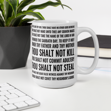 Load image into Gallery viewer, 10 Commandments White Glossy Ceramic Coffee Mug w/ Black Lettering for Christian Living, Bible Verse Coffee Cup, Gift Ideas