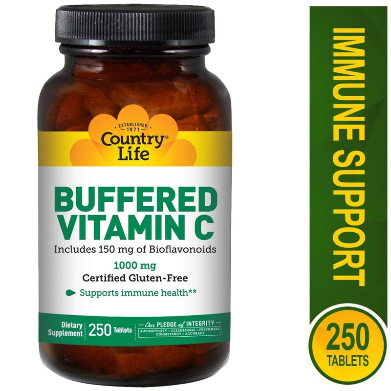 Country Life Buffered Vitamin C with Bioflavonoids 1,000mg -- 250 Tablets