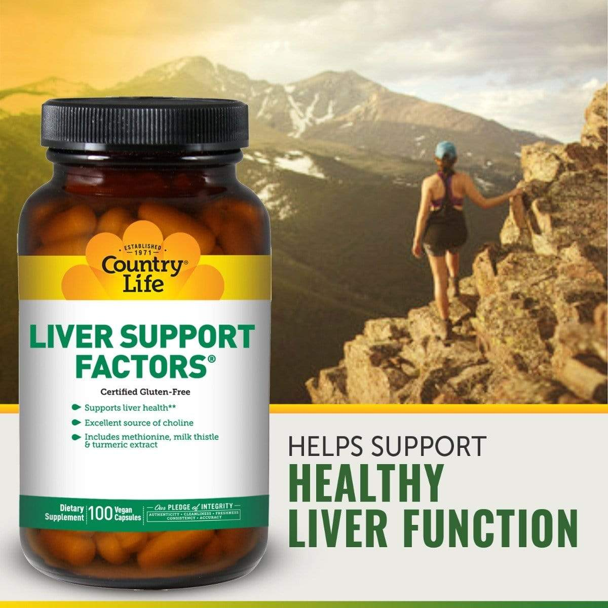 Country Life Liver Support Factors -- 100 Vegan Capsules