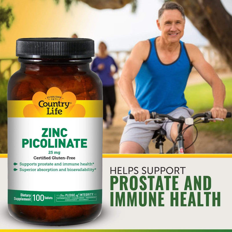 Country Life Zinc Picolinate 25 mg -- 100 Tablets