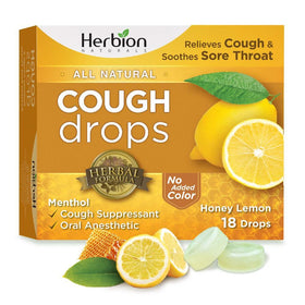 Herbion Naturals Cough Drops with Natural Honey Lemon Flavor, 18 Drops, Oral Anesthetic - Relieves Cough, Throat, Bronchial Irritation, Soothes Sore Mouth, for Adults and Children