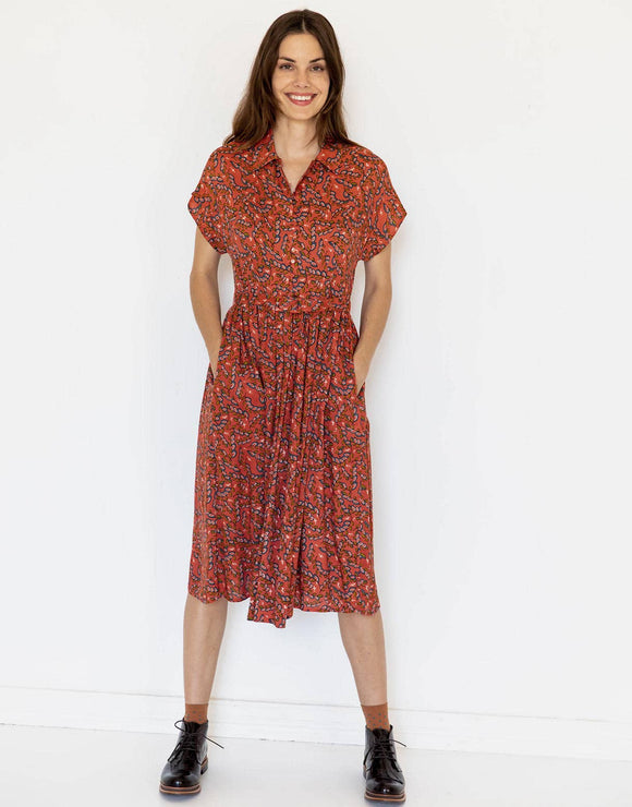 Lazybones Beatrix Dress-Arbor Print  *sustainable viscose*