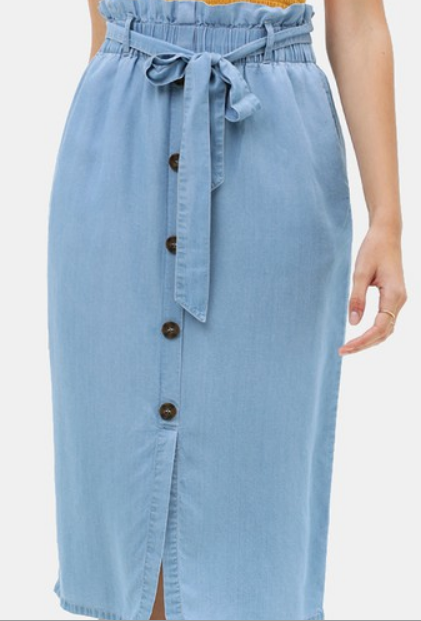 Solid Denim Midi Skirt