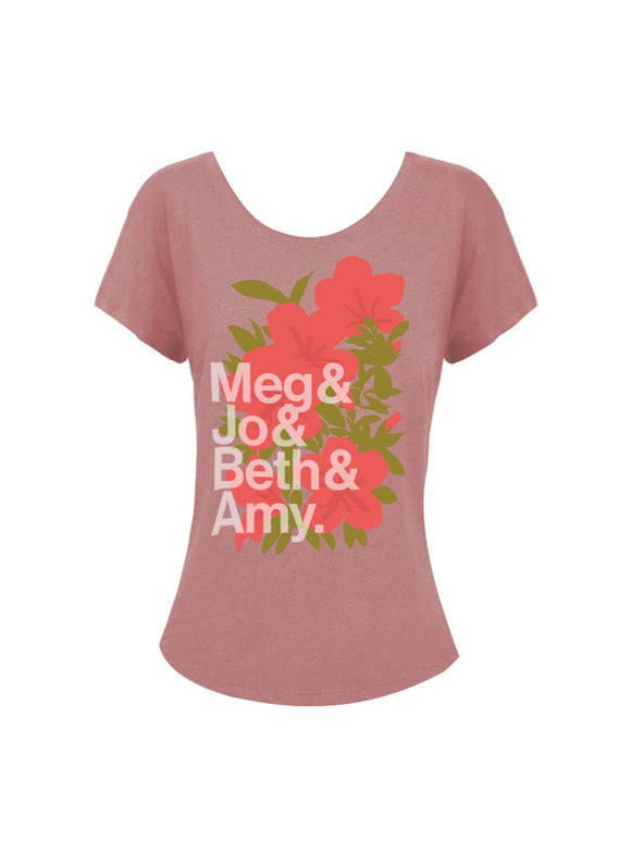 Out of Print Little Women Character Names Dolman Tee