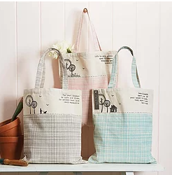 Two's Company Cotton Tote with Sayings