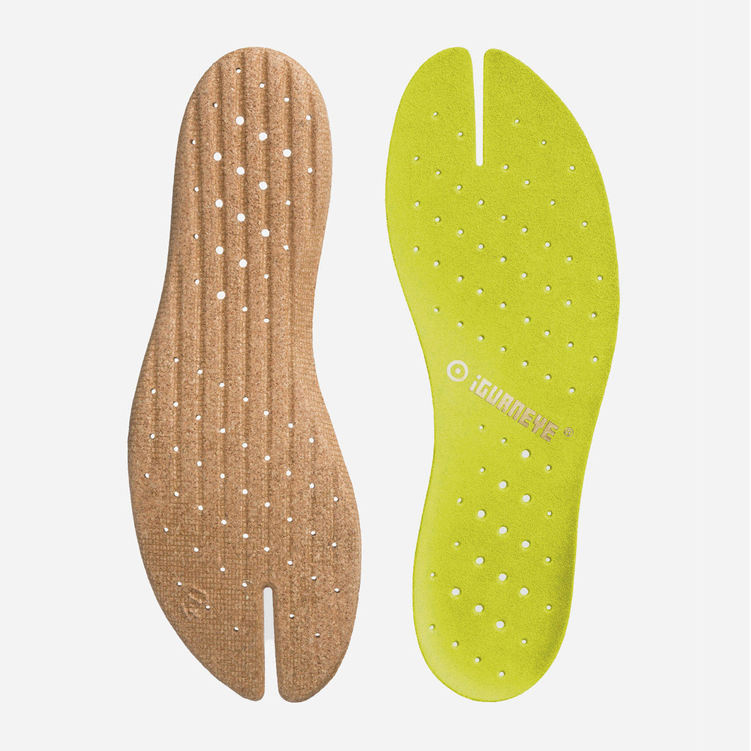 Freshoes Suede leather insoles Yellow Green