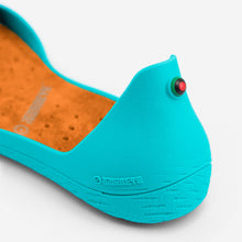 Load image into Gallery viewer, Freshoes Lagoon with the Suede leather insoles Amber Orange close up view