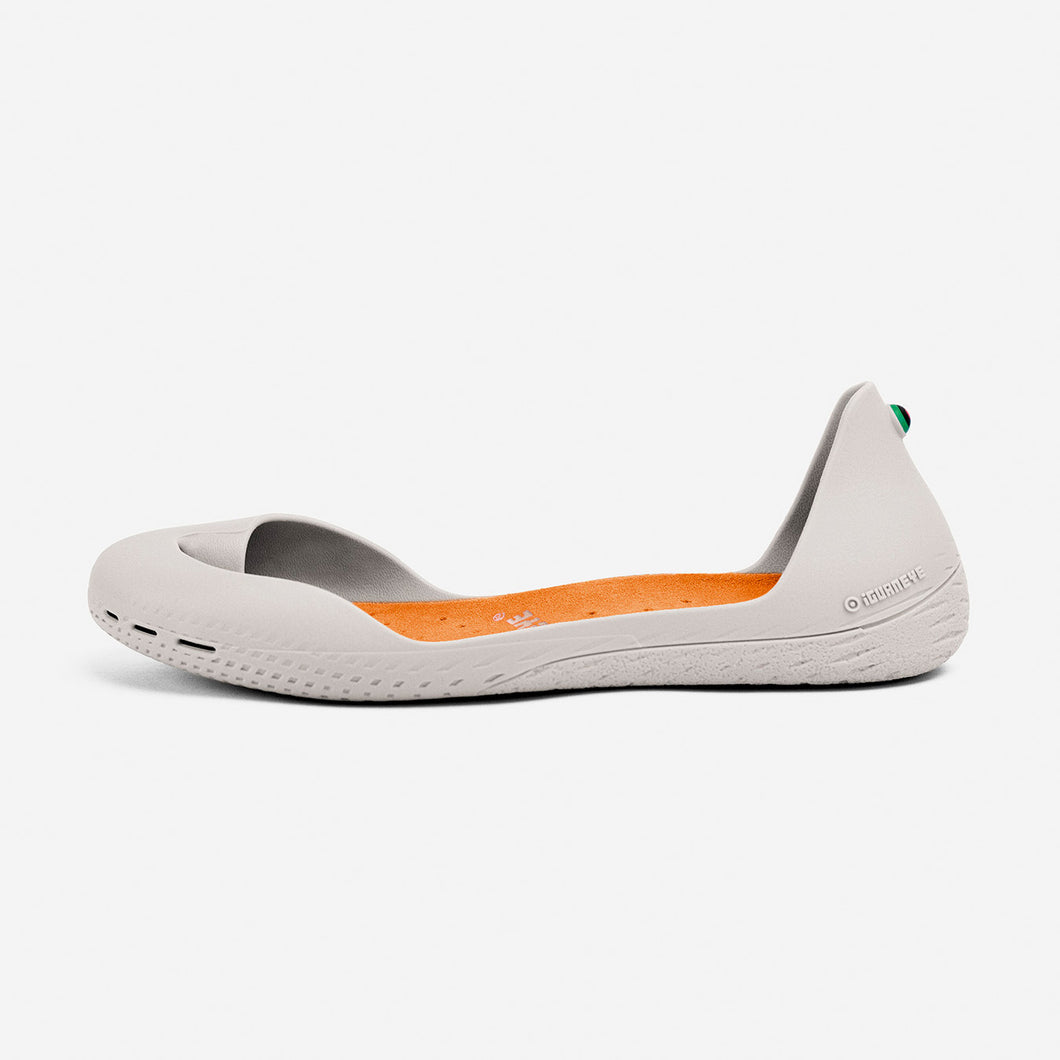 Freshoes Light Grey with the Suede leather insoles Amber Orange side view