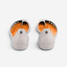 Load image into Gallery viewer, Freshoes Light Grey with the Suede leather insoles Amber Orange perspective view