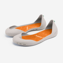 Load image into Gallery viewer, Freshoes Light Grey with the Suede leather insoles Amber Orange rear view