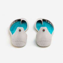 Load image into Gallery viewer, Freshoes Light Grey with the Suede leather insoles Turquoise Blue rear view