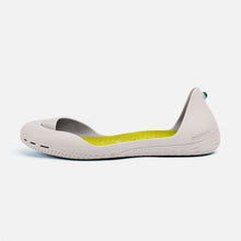 Load image into Gallery viewer, Freshoes Light Grey with the Suede leather insoles Yellow Green side view
