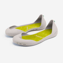 Load image into Gallery viewer, Freshoes Light Grey with the Suede leather insoles Yellow Green perspective view