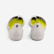 Load image into Gallery viewer, Freshoes Light Grey with the Suede leather insoles Yellow Green rear view