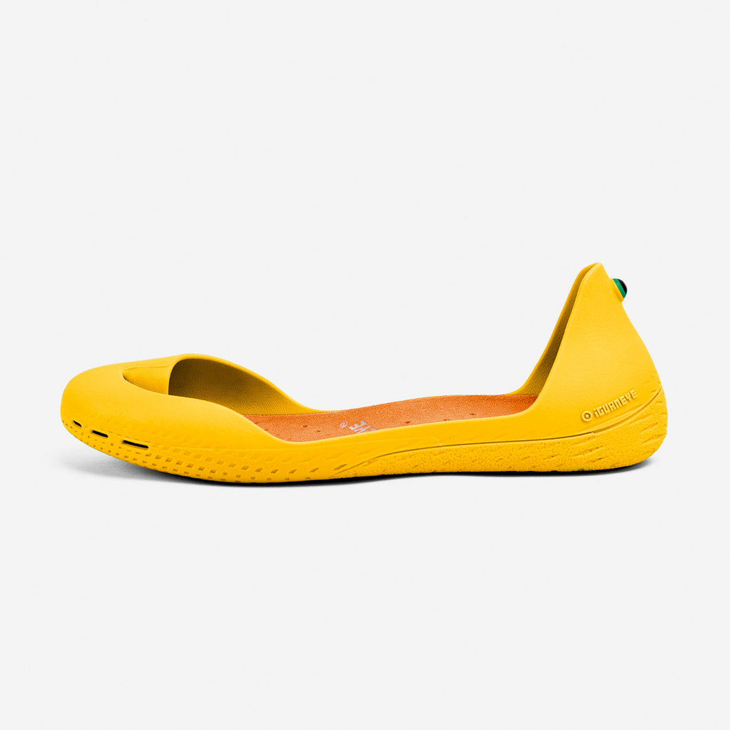 Freshoes Yellow Sun with the Suede leather Amber Orange insoles side view